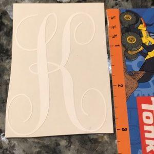 "Other - K Monogram White Vinyl Decal - 3"""